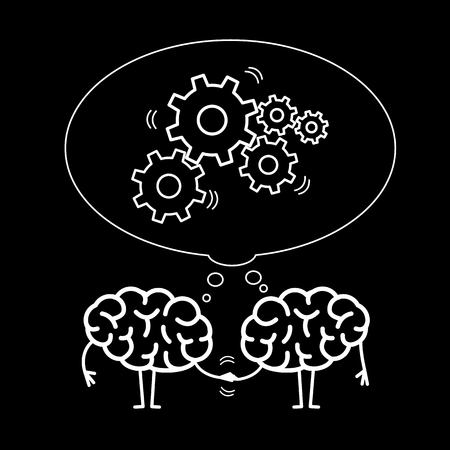 Two brains cooperation. Vector concept illustration of teamwork handshake with bubble with moving gears | flat design linear infographic white on black background Illustration