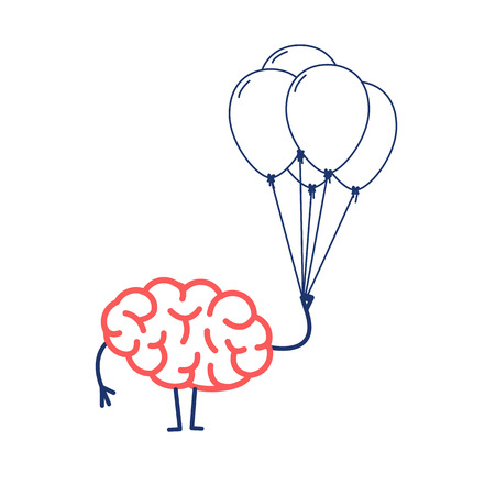Brain with inflatable balloons, Vector concept creative free mind | flat design linear infographic icon red and blue on white background Vectores