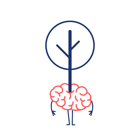 Green brain growing. Vector concept illustration of tree growing out of the brain | flat design linear infographic red and blue on white background Vectores