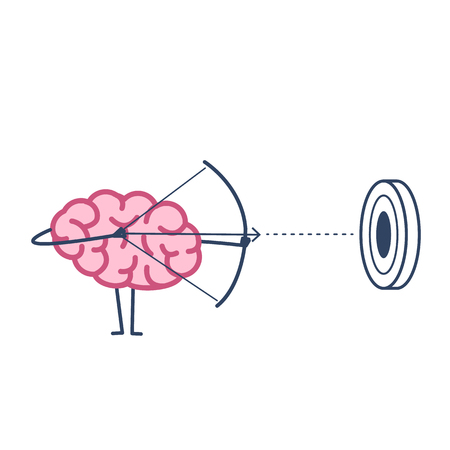 Brain archer aiming target. Vector concept illustration of mind focusing on goal | flat design linear infographic icon colorful on white background
