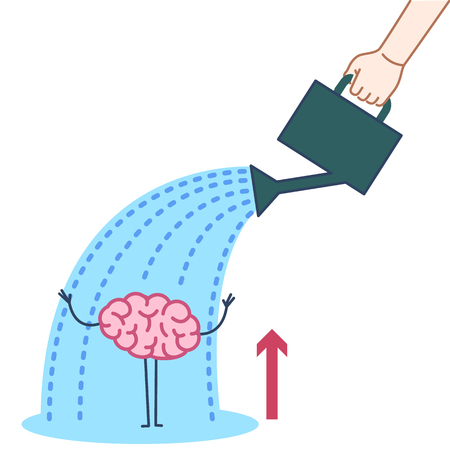 Brain growing up. Vector concept illustration hand watering mind with can | flat design linear infographic icon colorful on white background