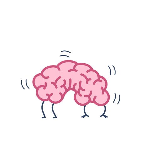 Cerebro flexible. Ilustración del concepto de vector de plasticidad cerebral   icono de infografía lineal de diseño plano colorido sobre fondo blanco