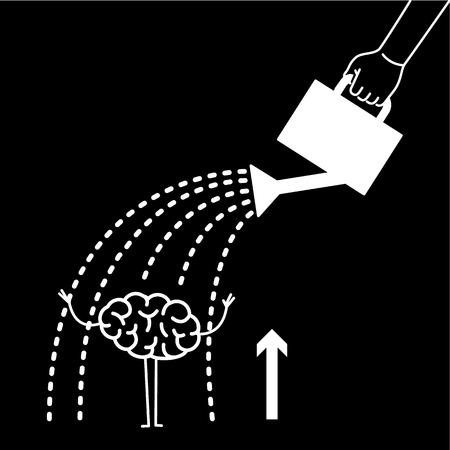 Brain growing up. Vector concept illustration hand watering mind with can | flat design linear infographic icon white on black background