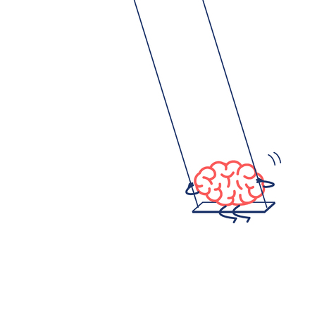 Brain swings on swing. Vector concept illustration of happy relaxed creative mind | flat design linear infographic icon red and blue on white background