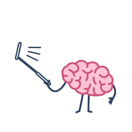 Brain taking selfie with selfie stick| flat design linear infographic icon colorful on white background