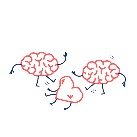 Two brains attacking heart on the ground. Vector concept illustration of sensitivity and feeling under attack of dominant mind | flat design linear infographic icon red and blue on white background Vectores