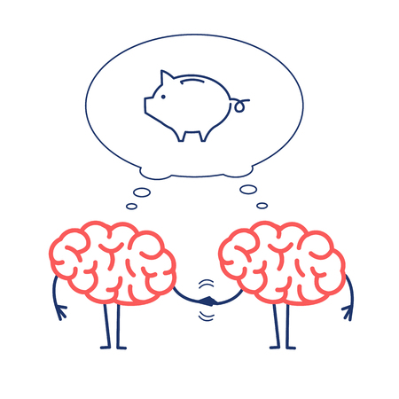 Two brains business cooperation. Vector concept illustration of teamwork handshake with bubble with piggy money bank | flat design linear infographic icon red and blue on white background