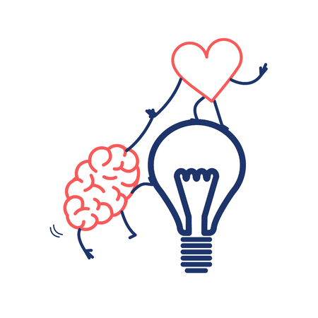 Brain and heart cooperation and teamwork. Vector concept illustration of mind and feelings, heart helps to climb brain on idea bulb | flat design linear infographic icon red and blue on white background 向量圖像