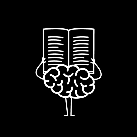 Brain reading book or newspaper. Vector concept illustration of learning informed mind | flat design linear infographic icon white on black background Vectores