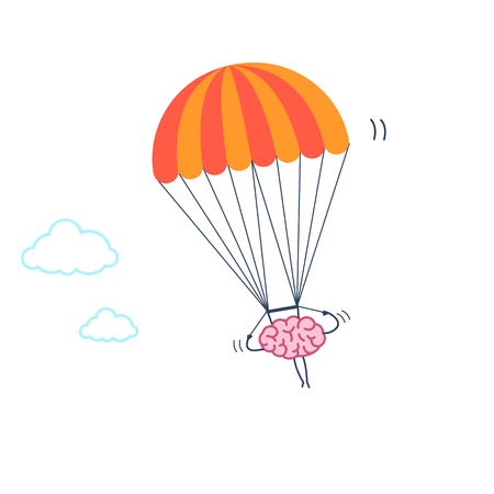 Brain flying on parachute. Vector concept illustration of inventive and creative mind | flat design linear infographic icon colorful on white background
