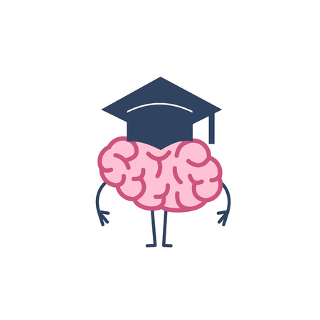 Brain in academic cap. Vector concept illustration of smart brain and great mind | flat design linear infographic icon colorful on white background Vectores