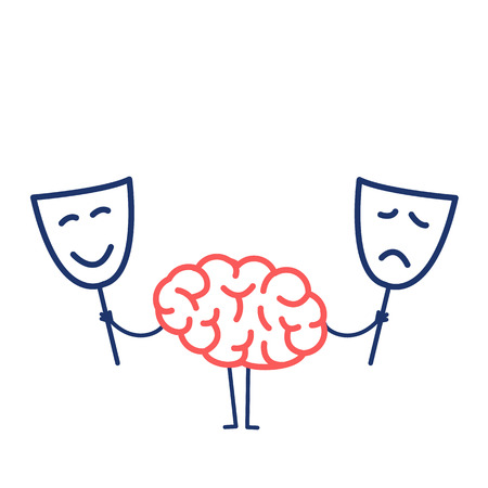 Brain with happy and sad mask. Vector concept illustration of brain deciding which mask to choose   flat design linear infographic icon red and blue on white background