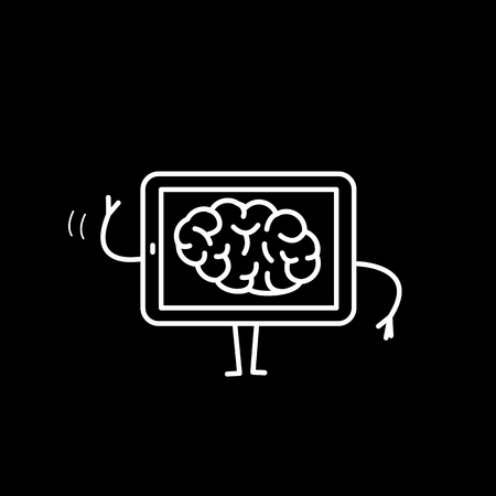 Brain in tablet. Vector concept illustration of mind inside technology | flat design linear infographic icon white on black background