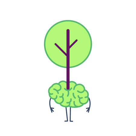 Green brain growing. Vector concept illustration of tree growing out of the brain | flat design linear infographic colorful on white background