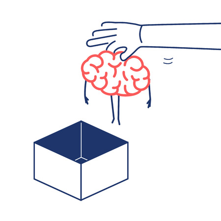 Hand putting brain out of the box. Vector concept illustration of unconventional thinking out of the box | flat design linear infographic icon red and blue on white background