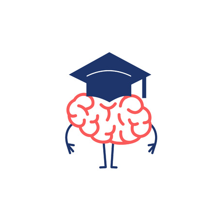 Brain in academic cap. Vector concept illustration of smart brain and great mind | flat design linear infographic icon red and blue on white background Vectores