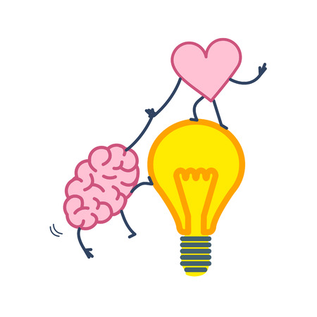 Brain and heart cooperation and teamwork. Vector concept illustration of mind and feelings, heart helps to climb brain on idea bulb | flat design linear infographic icon colorful on white background Vectores