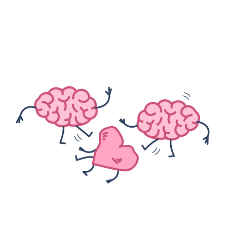Two brains attacking heart on the ground. Vector concept illustration of sensitivity and feeling under attack of dominant mind | flat design linear infographic icon colorful on white background