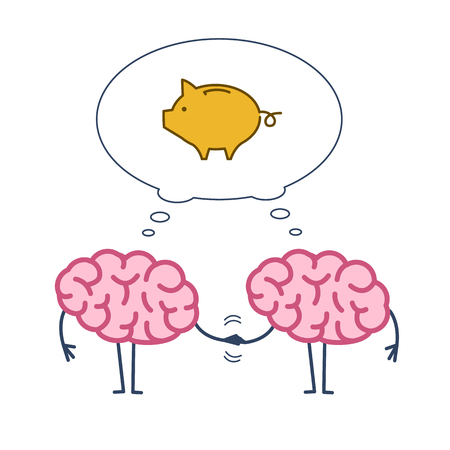 Two brains business cooperation. Vector concept illustration of teamwork handshake with bubble with piggy money bank | flat design linear infographic icon colorful on white background
