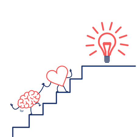 heart leading brain to success. Vector concept illustration of heart cooperation and teamwork with brain on stairs to goal new idea bulb | flat design linear infographic icon red and blue on white background
