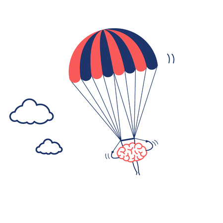 Brain flying on parachute. Vector concept illustration of inventive and creative mind | flat design linear infographic icon red and blue on white background