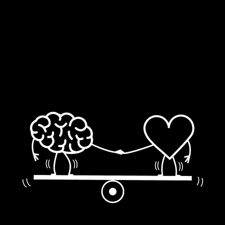Brain and heart balancing on swing. Vector concept illustration of balance between mind and feelings| flat design linear infographic icon white on black background Vectores