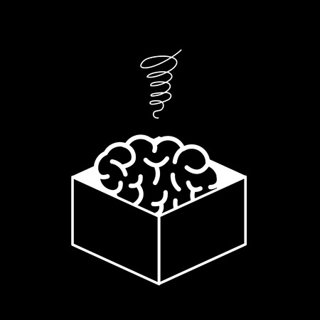 Atrophied brain in the box. Vector concept illustration of mind which stopped developed | flat design linear infographic icon white on black background Vectores
