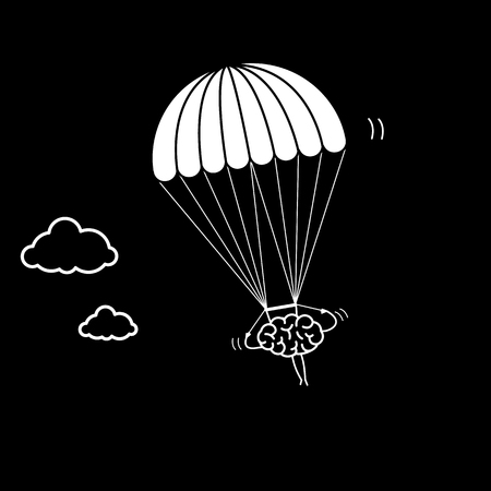 Brain flying on parachute. Vector concept illustration of inventive and creative mind | flat design linear infographic icon white on black background