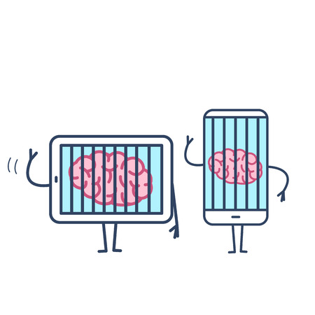 Brain imprisoned in tablet and smartphone. Vector concept illustration of mind trapped in technology gadgets | flat design linear infographic icon colorful on white background
