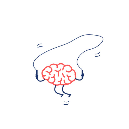 Brain jumping over the skipping rope. Vector concept illustration of happy brain and peaceful mind | flat design linear infographic icon red and blue on white background