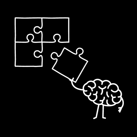 Brain making puzzle. Vector concept illustration of creative mind finding solution | flat design linear infographic icon white on black background Vectores
