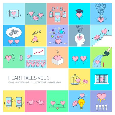 Historias del corazón volumen 3, ilustraciones del concepto de vector conjunto de corazón en diferentes situaciones divertidas | Conjunto de iconos lineales de diseño plano multicolor e infografía sobre fondo de colores