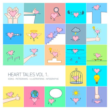 Herzgeschichten Band 1, Vektorkonzept Illustrationen von Herzen in verschiedenen lustigen Situationen   mehrfarbige flache Design lineare Icons Set und Infografik auf buntem Hintergrund