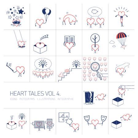 Hart verhalen volume 4, Vector concept illustraties set van hart in verschillende grappige situaties | veelkleurige platte ontwerp lineaire iconen set en infographic rood en blauw op witte achtergrond