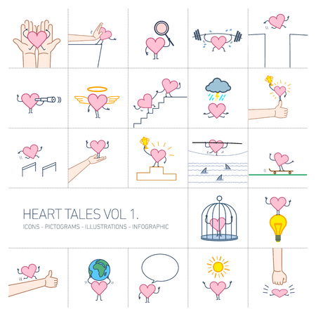 Heart tales volume 1, Vector concept illustrations set of heart in different funny situations | multicolor flat design linear icons set and infographic colorful on white background