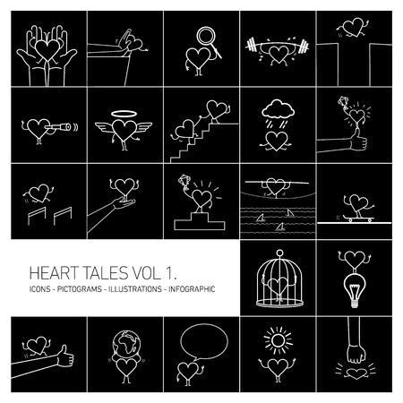 Heart tales volume 1, Vector concept illustrations set of heart in different funny situations | multicolor flat design linear icons set and infographic white on black background Vektorové ilustrace