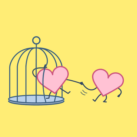 heart helping another heart to escape from cage. Vector concept illustration of feelings support escaping imprisoned heart  | flat design linear infographic icon on yellow background