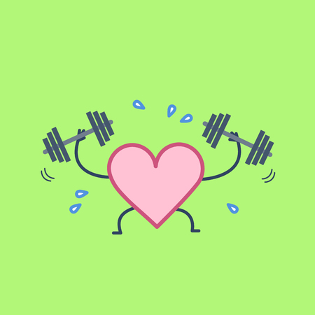 Heart workout. Vector concept illustration of hard working sweating heart with two dumbbells | flat design linear infographic icon on green background