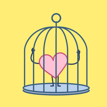 Heart locked in cage. Vector concept illustration of captive and imprisoned heart and emotions | flat design linear infographic icon on yellow background Illustration