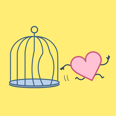 Heart escaping out of the bird cage. Vector concept illustration of free heart and soul running out of the prison | flat design linear infographic icon on yellow background Vektorové ilustrace