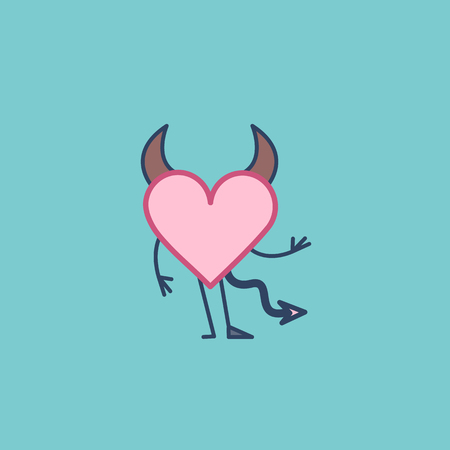 Insidious love. Vector concept illustration of hells devil heart with corners, tail and hoof | flat design linear infographic icon on green background