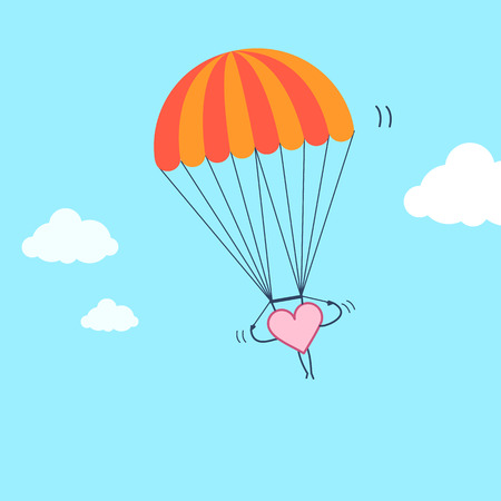 Heart flying on parachute. Vector concept illustration of freedom of inventive and creative heart and soul | flat design linear infographic icon on blue background