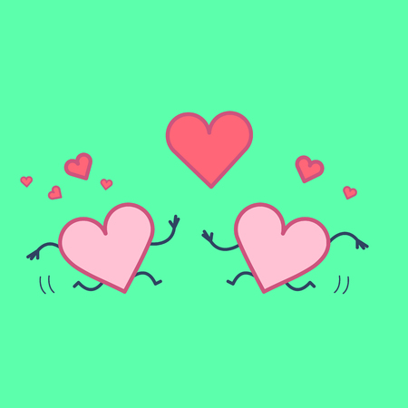 Heart in love. Vector concept illustration of two happy hearts running to each other with heart symbols above | flat design linear infographic icon on green background Illustration