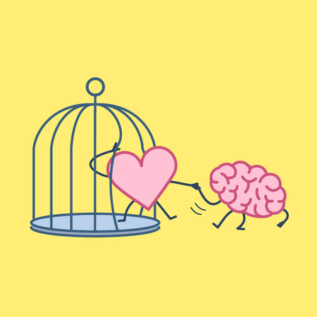 Brain helping heart to escape from cage. Vector concept illustration of support escaping imprisoned heart  | flat design linear infographic icon on yellow background Illustration