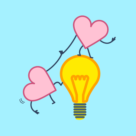 Hearts cooperation and teamwork. Vector concept illustration heart helps to climb on idea bulb | flat design linear infographic icon on blue background Ilustrace