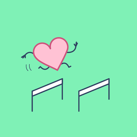 Heart hurdler. Vector concept illustration of strong heart jumping over the obstacles   flat design linear infographic icon on green background