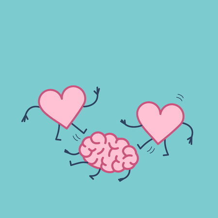 Two hearts attacking brain on the ground. Vector concept illustration of brain and intellect under attack of love and emotions | flat design linear infographic icon on blue background Иллюстрация