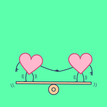 Heart balancing on swing. Vector concept illustration of balance between two hearts | flat design linear infographic icon on green background Illustration