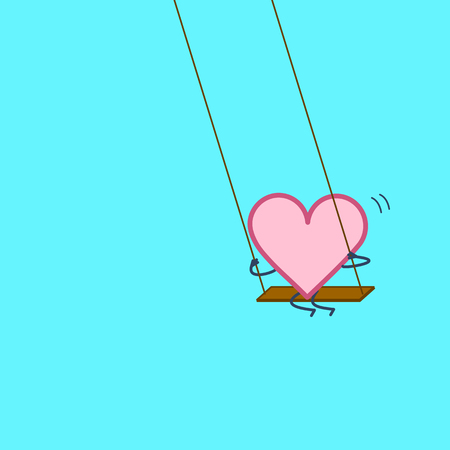 Heart swings on swing. Vector concept illustration of happy relaxed creative heart and love | flat design linear infographic icon on blue background