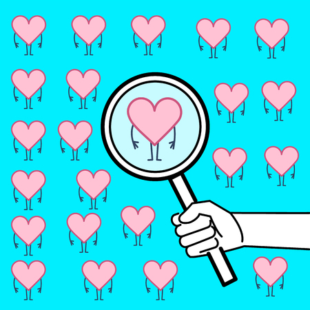 Searching heart or heart research. Vector concept illustration of hand with magnifying glass searching hearts | flat design linear infographic icon on blue background Vektorové ilustrace
